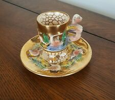 Vintage Italy Small Footed Cup and Saucer Angels