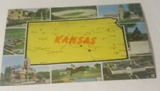 Vintage 1950s tourist postcard ~ Kansas State map and eight views famous places
