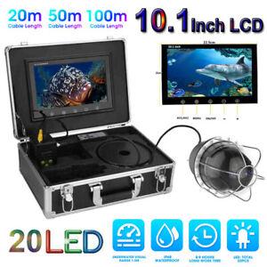 10.1'' 20m 50m 100m Underwater Fishing Camera 20 LED Fish Finder Video Recorder