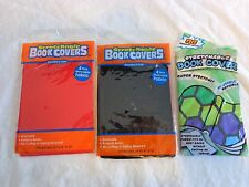 Stretchable Fabric Book Cover Lot of 3 BLACK RED HEXAGON Print Up To 8x10