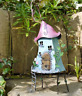 RUSTIC STYLE HAND PAINTED METAL FAIRY CROOKED TREEHOUSE GARDEN ORNAMENT