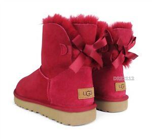 UGG Mini Bailey Bow II Kiss Suede Fur Boots Womens Size 8 *NIB*