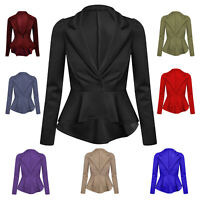 Ladies Womens Crop Frill Shift Slim Fit Peplum Blazer Jacket Coat Suit Plus Size
