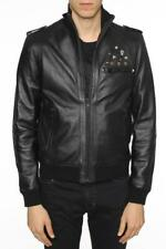 £850 NWT JUST CAVALLI Mens Brown Lambskin Leather Bomber Jacket Made In Italy M