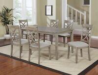 Beautiful 7PC Wood Rectangular Dining Table Set, Grey Hardwood Table Top &Chairs