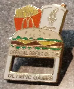 1996 McDonalds Atlanta Olympic Pin Official Break Burger Glasses Holder