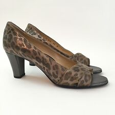 TARYAN ROSE Women's EU 39 US 8.5 Leopard Leather Open Toe Heels Pumps Sandals