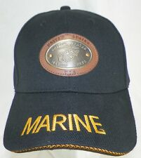 NEW MARINES BLACK BASEBALL HAT WITH METAL FRONT PLAQUE  B1
