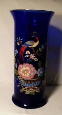 Cobalt Blue Vase Decorated with Peacock and Flowers, Asian Theme, 13 3/4 Inches