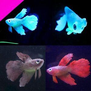 Aquarium Fish Tank Ornament Decor Glow Glowing Betta Artificial Silicone Decors