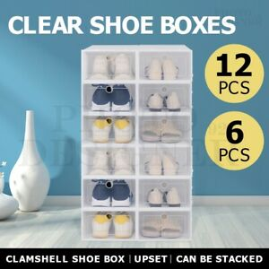 6/12Pcs Shoe Storage Transparent Box Foldable Stackable Drawer Organizer Boxes