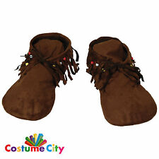 Adult Womens Indian Moccasins Native American Hippie Hippy Fancy Dress Accessory