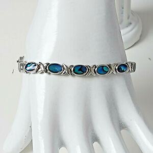 SJ Silvertone Abalone Shell Oval Link Bracelet Foldover Clasp Costume Jewellery