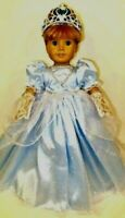 BLUE PRINCESS DRESS, GLOVES, CROWN 18 Inch Doll Clothes fits AMERICAN GIRL