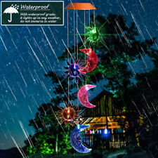 Solar Powered Wind Chimes Color Changing Led Light Garden Decor Moon Sun Yard