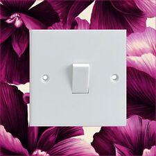 Purple Flowers Pattern Light Switch Surround Printed Vinyl Wall Sticker
