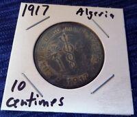 1917 Algeria ~ Chambre de Commerce D'Alger 10 Centimes ~ Zinc Coin