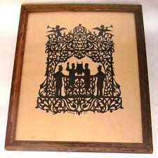 jewish judaica antique art paper cut  1921 signed synagogue torah book