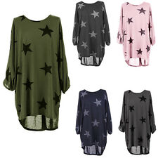 Ladies Stars Print Fine Knitted Baggy Batwing Sleeve T-Shirt Tops Plus Size 6-20