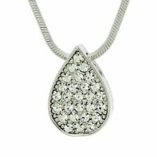 """Tear Drop Necklace Made With Swarovski Crystal Clear Love Pendant Gift 18"""" Chain"""