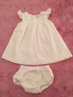 Nordstrom Baby Girl DRESS 6 Months White Eyelet with Bloomers NWOT