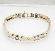 """8.25"""" Mens Solid RLX Style Screw Button Railroad Bracelet Real 14K Two-Tone Gold"""