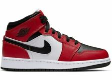 "*FREE SHIP* Jordan 1 Mid ""Chicago Toe"" size 5.5, 6, 7 BLACK/RED/WHITE 554725-069"