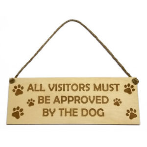 Gift for Dog Owner Hanging Door Wall Sign Visitors Theme Wooden Engraved Novelty