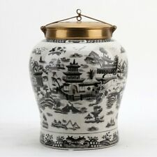 PORCELAIN BLACK WILLOW CANTON CHINESE WARRIOR JAR WITH BRONZE ORMOLU LID