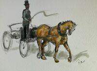 Original ink & watercolour paintings Coach & horse impressionism equestrian art