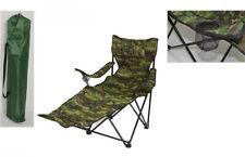 Sedia campeggio pieghevole con poggiapiedi portabicchiere verde camo 92x117x75cm