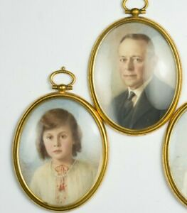 Set of 2 Art Deco Hand Painted Miniature Portraits Travel Frames Father & Child