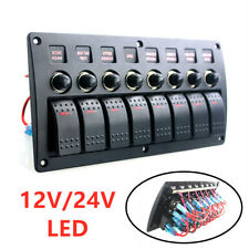 Marine Electric 8 Gang Red LED ON-OFF Rock Switch Panel for Boat Rvs