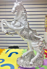 BEAUTIFULL Italian Luxury Horse Ornament white silver Ceramic Gypsy 70cm UK wg