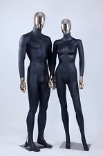 Female + Male Full Body Mannequins W. Removable Gold Head, Hands, 1 Black Couple