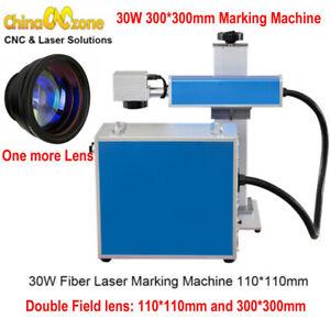 30W Fiber Laser Metal Marking Machine 300*300mm Engraving High Precision AU