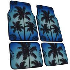 Cool Tropical Sunrise Blue Palm Trees Heavy Duty Car Carpet Floor Mats 4 PC