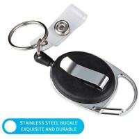 Black Carabiner Retractable Reel Tag Holder Badge Clip Holder N9X4 Card New R6S0