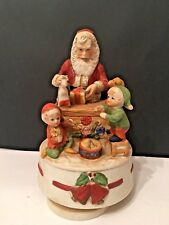 "Music Box Santa with Elves in Work Shop Plays ""Jingle Bells"" Rotating Vintage"