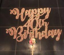 Rose Gold Glitter 40th Birthday Cake Topper