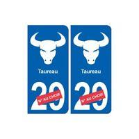 Taureau astrologie autocollant sticker département plaque auto logo 2
