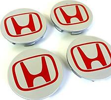 4x69mm HONDA ALLOY WHEEL CENTRE HUB CAPS SILVER RED / ACCORD CRV CIVIC TYPE R