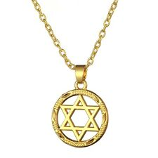 Gold Plated Men Star David Necklace Magen David Pendant Judaica Jewish Jewelry