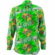 Corte Normal Manga Larga Camisa Loud Originals Verde Tropical Spiral Psicodélico
