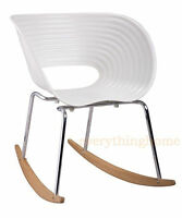 Arad's VAC Style Rocking Shell Chair Rocker White Steel And Wood Base Mid-Cent.