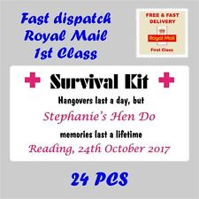 Personalised Stickers HANGOVER SURVIVAL KIT Hen Party Night Drunk Stag Wed H12