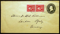#U402 1c Green, Die 1 with #409 Imperf Vert Line Pair on Cover to Germany