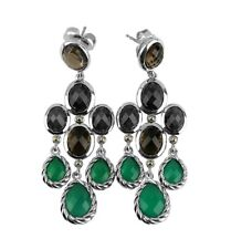 David Yurman St. Silver 18k Gold Chandelier Dangling Green Onyx Earrings 24e