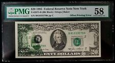 1985 $20 Federal Reserve Note, Error, Partial Back to Front Offset, Pmg Ch Au 58