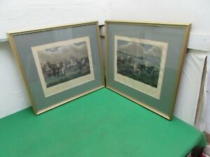 """2 Antique Engravings After Henry Alken """"The First Steeplechase On Record"""" Framed"""